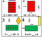 3rd Grade Math Calendar - Area, Algebra, Fractions and Qua