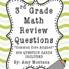 3rd Grade Math Review Question Cards for Common Core {268