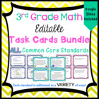 3rd Grade Math Task Cards Bundle for ALL Common Core Standards