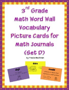 3rd Grade Math Vocabulary Picture Cards for Math Journals (Set D)