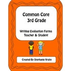3rd Grade Writing Evaluation Forms (CCSS)