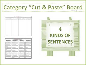 4 Kinds of Sentences Cut and Paste Category Board