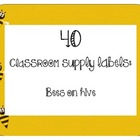 40 Classroom Supply Labels: Bees on hive
