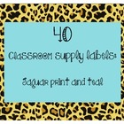 40 Classroom Supply Labels: Jaguar print with teal