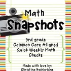 44 3rd Grade Math Snapshots- Weekly Assessments CCSS Aligned
