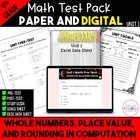 4th Grade CC Unit 1 Math Test & Excel Data Sheets:  Place