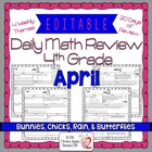 4th Grade Common Core Daily Math Review/Morning Work- April