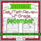 4th Grade Common Core Daily Math Review/Morning Work- December