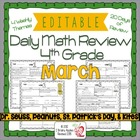 4th Grade Common Core Daily Math Review/Morning Work- March