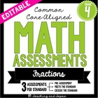 4th Grade Common Core Math Assessment - Fractions (3 tests