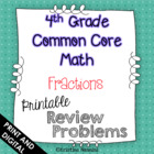 4th Grade Common Core Math Review Problems {Fractions}