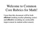 4th Grade Common Core Math Rubric