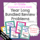 4th Grade Common Core Math Year Long Bundled Review Proble