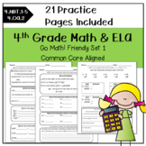 Morning Work Math & ELA 4th Grade for Go Math! Ch. 1-2 SET 1