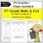 Morning Work Math & ELA 4th Grade for Go Math! Ch. 3-4 SET 2