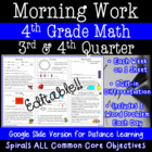 4th Grade Daily Math Morning Work 3rd and 4th quarter prac