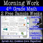 4th Grade Daily Math Morning Work one week freebie (week 27)