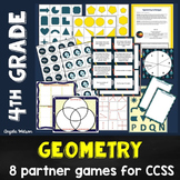 4th Grade Geometry Math Partner Games:8 CCSS games for lin