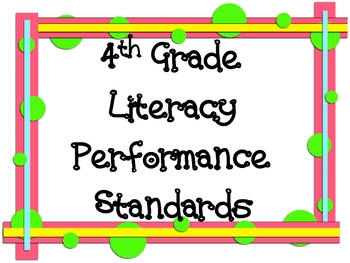 4th Grade Literacy Performance Standards Display