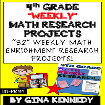 4th Grade Math Enrichment Weekly Research Projects! Easy Way to Add Rigor!