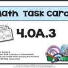4th Grade Math Task Cards 4.0A.3 Common Core Aligned