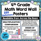 4th Grade Math Vocabulary Poster Set / Math Word Wall +mor