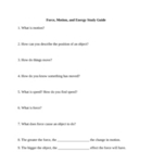 4th Grade Science-Force, Motion, and Energy Test and Study Guide