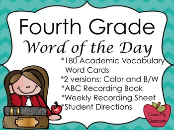 4th Grade Word of the Day Pack {180 Academic Vocabulary Cards}