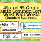4th and 5th Grade Math Common Core Word Wall Words- Rainbo