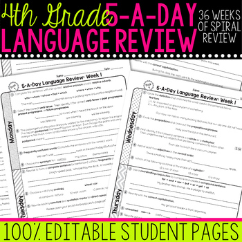 5-A-Day Common Core Language Review {4th Grade}