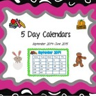 5 Day Calendars - Sept 2013-June 2014 (PDF Version)