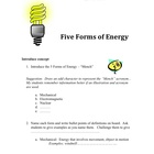 5 Forms of Energy Lesson Plan - Activity