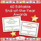 59 End-of-Year Achievement Award Certificates - Editable - Color