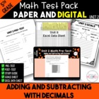 5th Common Core Unit 2 Math Test:  Decimals Part 1