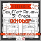 5th Grade Common Core Daily Math Review/Morning Work- October