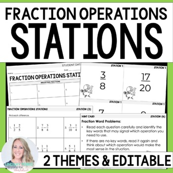 5th Grade Common Core Fraction Operations Math Stations