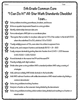 "5th Grade Common Core ""I Can"" Math Checklist"
