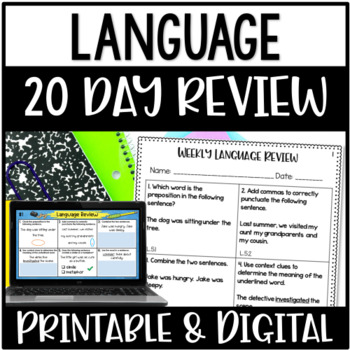 5th Grade Common Core Language Weekly Daily Review Warmups *20 Weeks*