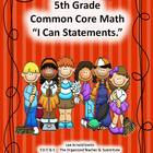 "5th Grade Common Core Math ""I Can Statements."""