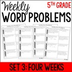 5th Grade Common Core Math Weekly Word Problems {Set 3: 4 Weeks}