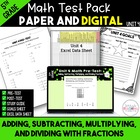 5th Grade Common Core Unit 4 Math Test:  Fractions