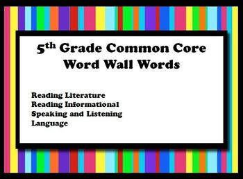 5th Grade Common Core Word Wall Cards Reading Language Literacy
