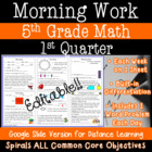 5th Grade Daily Math Morning Work 1st Quarter Practice Com