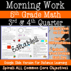 5th Grade Daily Math Morning Work 3rd and 4th quarter prac