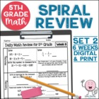 5th Grade Daily Math Spiral Review Weeks 7-10 - FREE - Wee