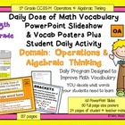 5th Grade Daily Math Vocabulary Slideshow & Poster Set CCS