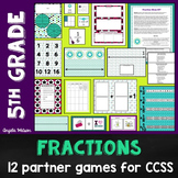 5th Grade Fractions Math Partner Games: 12 Games Designed