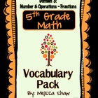 5th Grade Math Common Core Vocabulary Complete Pack *Domain 3*