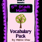 5th Grade Math Common Core Vocabulary Complete Pack *Domain 5*