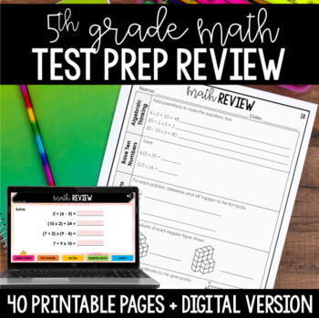 5th Grade Math Common Core Weekly Daily Review Warm Ups *40 Weeks*